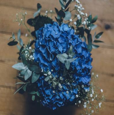 Composition florale bleue
